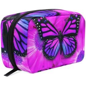 蝶 紫 化粧ポーチ メイクポーチ 機能的 大容量 化粧品収納 小物入れ 普段使い 出張 旅行 メイク ブラシ バッグ 化粧バッグ