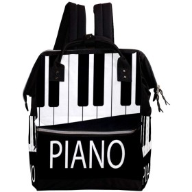 CHENYINAN リュックサック リュック 学生 レディース ピアノ キー 音楽 ブラック 黒 メンズ 大容量 マザーズバッグ がま口 バックパック 通勤通学 デイバッグ かわいい おしゃれ