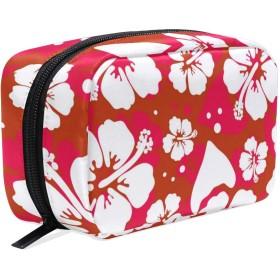 花 美容製品 化粧品のバッグ 女性 洗顔料 スキンケア 電子製品 アクセサリー ポータブル 整理バッグ用女の子 Hawaiian Hibiscus Flower