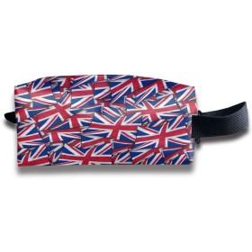 イギリス国旗波コラージュ 化粧ポーチ メイクポーチ ミニ 財布 機能的 大容量 アイシャドー 化粧品収納 小物入れ 普段使い 出張 旅行 メイク ブラシ バッグ ポータブル 化粧バッグ