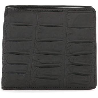 【67%OFF】クロコダイルレザー 二つ折り財布 ブラック