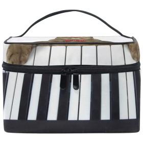 Star Moon Moo(SMM) 化粧ポーチ 猫柄 ピアノ コスメポーチ メイクポーチ メイクケース バニティバッグ ポーチ おしゃれ 大容量 コスメバッグ 收納抜群 メイクブラシバッグ シンプル 旅行 機能的 小物入れ 化粧道具