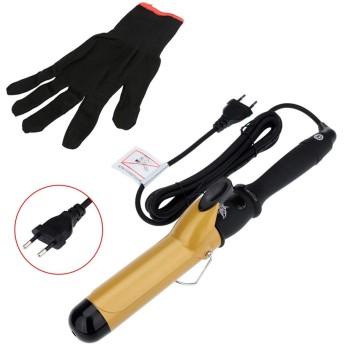 New 38ミリメートルセラミックバレルカールアイロンカーリングアイアンカーラーローラーと手袋ヘアスタイリングツール (Color : EU)