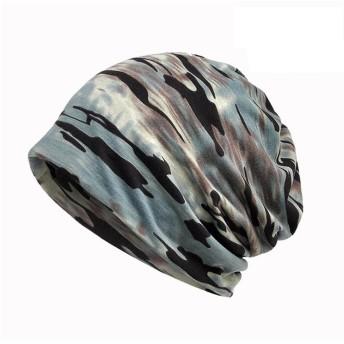 迷彩 ニット帽 メンズ U-LOVE ニットキャップ&ネックウォーマー 2WAYS 防寒 防風 男女兼用 医療用 帽子 迷彩ブルー