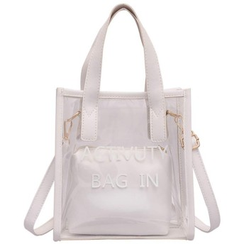 Kofun クリアハンドルバッグ, 女性クリアPvc透明ゼリーハンドバッグトートメッセンジャークロスボディショルダーバッグ 白