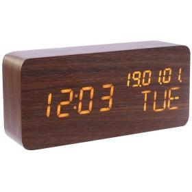 電子目覚まし時計 LED 目覚まし時計 子供 デジタル 置時計 アラーム時計 LED サウンドコントロールインテリジェント誘導 木材 USB タイマー/温度計/カレンダー Amiu