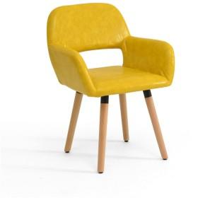 化粧椅子リビングルーム折りたたみチェア屋内PUクッション簡単に木製クロスを背もたれラウンジチェア高さ79センチ (Color : #3)
