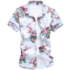 [eleitchtee] シャツ メンズ 半袖シャツ 花柄 カジュアルシャツ 大きいサイズ リゾット 総柄 男性用 お兄系 015-dsjda056-6926 (4XL 色1)