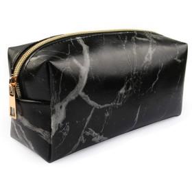 大理石化粧バッグ、化粧品ディスプレイケース防水大理石旅行ケースポータブル化粧バッグ化粧オーガナイザー(20×8×10cm)(ブラック)