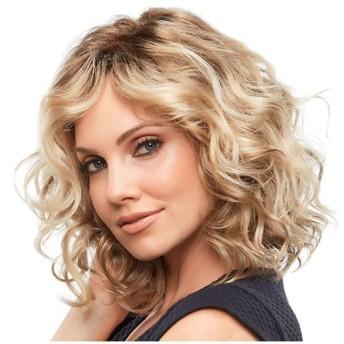 女性のための短いウェーブのかかったかつらブロンドの巻き毛のコスプレかつら肩の長さ耐熱人工毛ウィッグ無料のかつらキャップ30 cm A+ (色 : Gold brown)