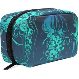 クラゲ 化粧ポーチ メイクポーチ 機能的 大容量 化粧品収納 小物入れ 普段使い 出張 旅行 メイク ブラシ バッグ 化粧バッグ