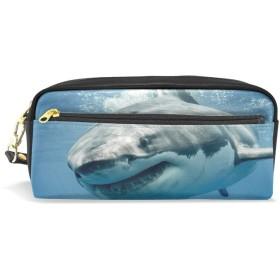 ALAZA サメ 鉛筆 ケース ジッパー Pu 革製 ペン バッグ 化粧品 化粧 バッグ ペン 文房具 ポーチ バッグ 大容量
