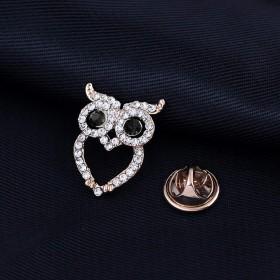 goupgolboll-女性のファッションラインストーン象嵌かわいいブローチピンジュエリーパーティークリスマスギフト - 青い目のフクロウ
