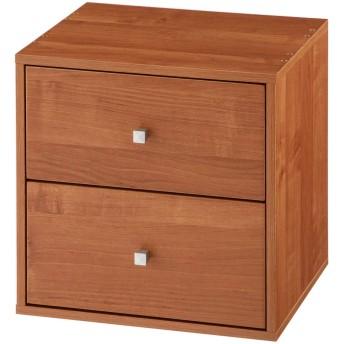 ぼん家具 扉付き カラーボックス スタッキングボックス フラップ 積み重ね 引き出し ブラウン