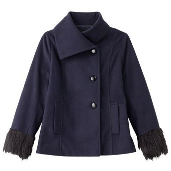 【レディース】 エコファー使いロールネックコート ■カラー:ネイビー ■サイズ:M,L