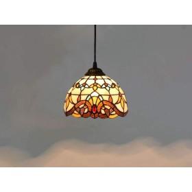 ティファニースタイルのシャンデリア、8インチステンドグラスバロックランプシェードメタルベース照明器具、装飾レストランバーシーリングライト、110-240ボルト