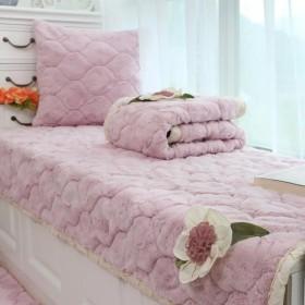 おしゃれ ラグ 70x180cm フワフワ レース付き 滑り止め付 畳 洗える 冬 カーペット マット リビング 床暖房対応 ピンク 10サイズ選べる
