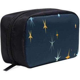 HYLVE メイクポーチ 星の光柄 ボックス コスメ収納 化粧品収納ケース 大容量 収納 化粧品入れ 化粧バッグ 旅行用 メイクブラシバッグ 化粧箱 持ち運び便利 プロ用