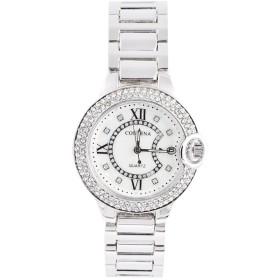 ファッショナブルな女性の女性のラインストーン時計合金ストラップアナログ腕時計ギフト(1)