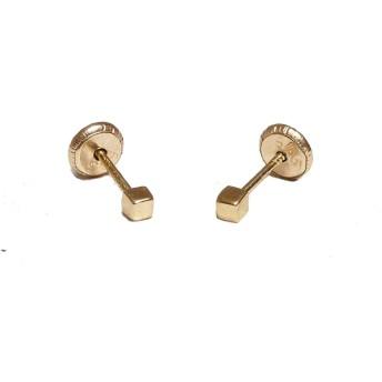 beckids–14Kゴールドミニキューブスタッドイヤリング、2mm–ねじBacks