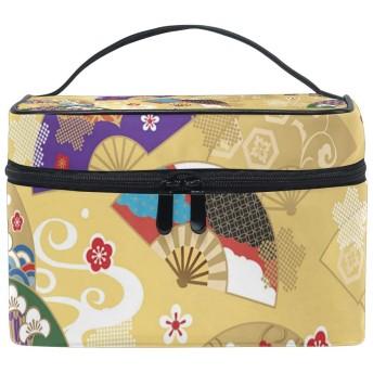 メイクポーチ うちわ 日本 和風 化粧ポーチ 化粧箱 バニティポーチ コスメポーチ 化粧品 収納 雑貨 小物入れ 女性 超軽量 機能的 大容量