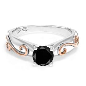 Gem Stone King 1.05カラット 天然ブラックダイヤモンド シルバー925 指輪 リング