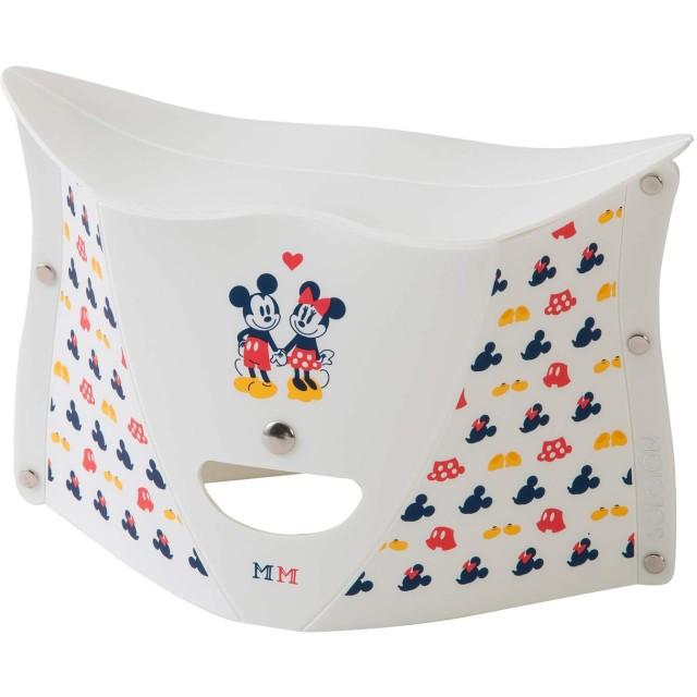 SOLCION 折りたたみチェア mickey & minnie ホワイト 高さ18cm PATATTO 180 (パタット 180) ディズニー Dis181