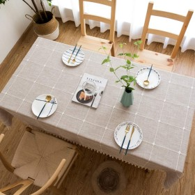 田園風 チェック柄 刺繍 タッセル 綿麻 9090 耐久 ティーマット 現代 テーブルカバー テーブルクロス さわやか 食卓カバー サイズ選択可能 撮影背景布 合わせやすい 多用途 キッチン ブラウン 長方形 5色選択