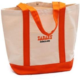 ZABAR'S ゼイバーズ トート バッグ オレンジ ホワイト (Large) [並行輸入品]