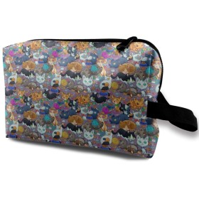 可愛いの猫 柄 化粧バッグ 収納袋 女大容量 化粧品クラッチバッグ 収納 軽量 ウィンドジップ