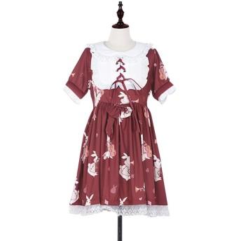 ロリータ ワンピース Emfay 森ガール お嬢様 レディース ワンピース うさぎ 図案 ドレス 少女 二次元 復古 レース ワインレッド L