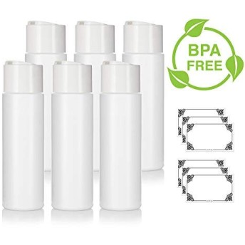 8 oz/250 ml Professional White Refillable Plastic Squeeze (BPA Free) Bottle with Wide White Disc Cap Lid (6 Pack) + Labels for Shampoo, Conditioner, Body Wash, Lotion, and More [並行輸入品]