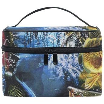 メイクポーチ 魚柄 化粧ポーチ 化粧箱 バニティポーチ コスメポーチ 化粧品 収納 雑貨 小物入れ 女性 超軽量 機能的 大容量