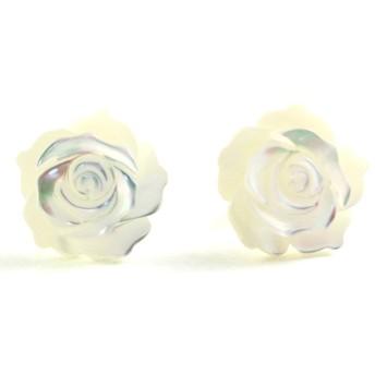 [ロノティコ]Ronotico 14kgf 白蝶貝 の12mm薔薇 ピアス スタット pi-128