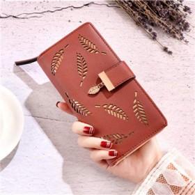 女性の PU レザークラッチバッグ財布カードバッグストレージバッグレディース中空財布,Brown