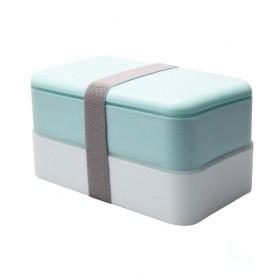 DLYDSS お弁当箱、二重お弁当箱(お箸とスプーン付き)、ピンク、大人と子供に最適 (Color : Blue)