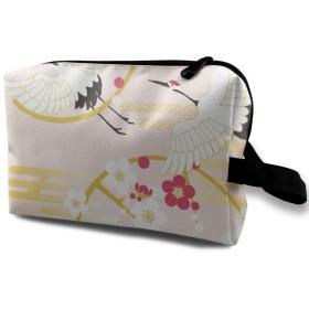 鶴と桜 和風 ピンク 化粧バッグ 収納袋 女大容量 化粧品クラッチバッグ 収納 軽量 ウィンドジップ