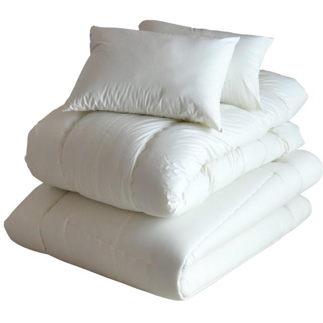 エムール 日本製 布団セット ダブル (掛け 敷き 枕×2) 抗菌 防臭 防ダニ 『レオーネ』 生成り
