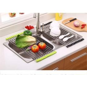 皿の上の乾燥ラックを折りたたみ式収納可能な耐熱マットポットとパンラックカップの乾燥/排水用ドレンボード果物野菜(2個),Black,M
