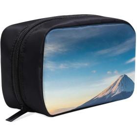 DMHYJ メイクポーチ 富士山 ボックス コスメ収納 化粧品収納ケース 大容量 収納 化粧品入れ 化粧バッグ 旅行用 メイクブラシバッグ 化粧箱 持ち運び便利 プロ用