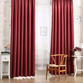遮光カーテン ナチュラル風 シンプル デザイン フック4個付属 断熱・遮熱・防音 柔らかい 洗濯可能カーテン 2スタイル全 純色・カートン 約100*200cm 1枚 Broadroot (純色・レッド)