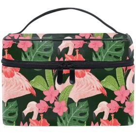 トラベルポーチ メイクポーチ 化粧ポーチ 充電器ポーチ 軽いPink Flamingoes And Flowers