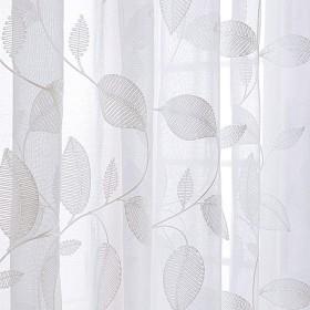 Vancy Home ミラーレースカーテン 2枚セット 可愛い葉柄刺繍 目隠し 遮光 断熱 遮像 UVカット おしゃれ (幅150x丈220cm)
