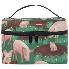 メイクポーチ 豚 柄 化粧ポーチ 化粧箱 バニティポーチ コスメポーチ 化粧品 収納 雑貨 小物入れ 女性 超軽量 機能的 大容量
