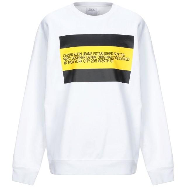 《セール開催中》CALVIN KLEIN JEANS メンズ スウェットシャツ ホワイト XS コットン 80% / ポリエステル 20%