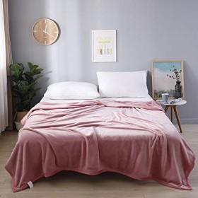 ピンク 北欧 無地 純色フランネルブランケット 二枚合わせ毛布 エアコン 多機能 ひざ掛け 防寒 保温 120200cm