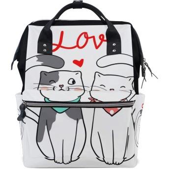 ママバッグ マザーズバッグ リュックサック ハンドバッグ バレンタインデー 猫柄 漫画 用品収納 旅行用 大容量 多機能 出産祝い