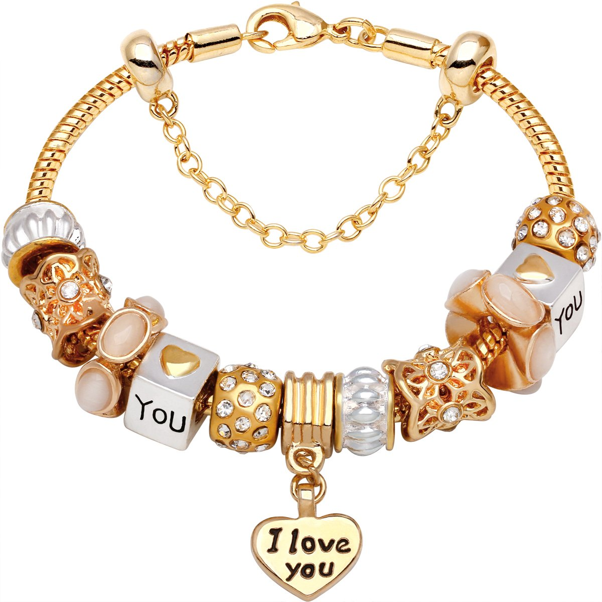 I Love You Charm With Lobster Claw Clasp Charms for Bracelets and Necklaces