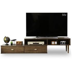 DORIS テレビ台 ローボード 伸縮テレビ台 ~50型テレビまで対応 最大幅220cmまでの伸縮タイプのテレビボード 角度も自由自在 引き出し収納2杯 組立式 ブラウン エルナ
