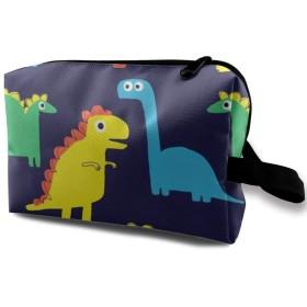 メイクポーチ 恐竜 トラベルポーチ シングルファスナーポーチ 大容量 トラベル コンパクト 旅行収納バック 化粧品収納 便利グッズ 旅行・出張・家庭用